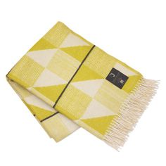 100% merino wool blanket with fringes - olive and cream pattern with dark grey stripes. 130 x 190 cm