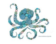 Octopus Button Art Button Artwork sea by CherCreations Button Art, Button Crafts, Crafts To Make, Arts And Crafts, Fun Crafts, Jewelry Crafts, Jewelry Art, Gemstone Brooch, Octopus Art