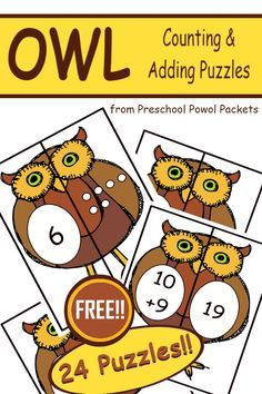 Cute! Use these owl puzzles for math centers and counting practice! Perfect for preschool and kindergarten!