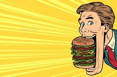 Buy Hungry Man with a Giant Burger by studiostoks on GraphicRiver. hungry man with a giant Burger in your mouth, street food. Retro Vector, Vector Art, Burger Cartoon, Pop Art Food, Illustration, Arte Pop, Art Lessons, Comic Art, Art Drawings
