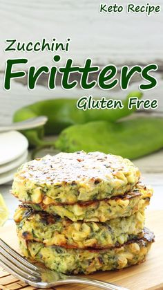 High in potassium, vitamins (such as vitamin A) and essential minerals zucchini is an excellent addition to low-carb, ketogenic diets even if it's just for their healthy nutrient content. Gluten Free Zucchini Fritters, Low Carb Zucchini Recipes, Carb Free Recipes, Gluten Free Vegetarian Recipes, Healthy Recipes, Zuchinni Fritters, Paleo, Dairy Free Low Carb, Menu