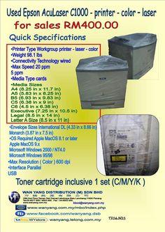 Used Epson AcuLaser printer color laser Konica Minolta, Stock Clearance, Printer Types, Laser Printer, Toner Cartridge, Epson, Fuji, Brother, Lettering
