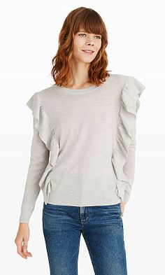 Women | Flutterby Ruffle Sweater | Club Monaco
