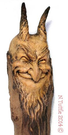 Carved driftwood Charmed by His Smile Wood Carving Faces, Dremel Wood Carving, Wood Carving Patterns, Wood Carving Art, Driftwood Sculpture, Sculpture Art, Hand Carved Walking Sticks, Chip Carving, Art Carved