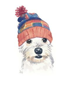 Original Dog Watercolor Painting - Dog Illustration, Snoodle, Knit Toque, Nursery Art, 8x10 painting. $40.00, via Etsy.: