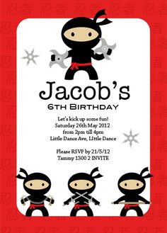 ninja birthday invitation -- ninja party - You print or I print ...
