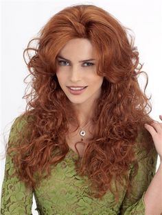Look and feel your radiant best, with the Janice wig by Louis Ferre. With amazing curly layered locks that cascade well past your shoulder blades, this is a wig that offers a decadently flirty and sim Monofilament Wigs, Long Red Hair, Dark Hair, Brown Hair, Red Hair Woman, Gorgeous Redhead, Long Wigs, Strawberry Blonde, Synthetic Wigs