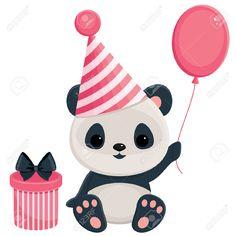 29127307-Birthday-panda-with-gift-box-and-balloon-Panda-in-pink-Stock-Vector.jpg (1300×1300)
