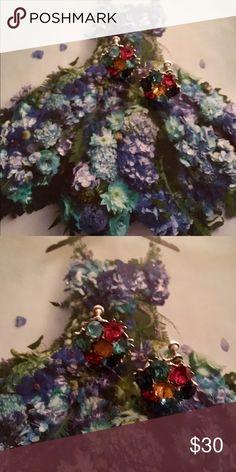 VINTAGE SILVER MULTI COLORS SCREW ON EARRINGS GORGEOUS SILVER  TOPAZ PINK QUARTZ BLUE TOPAZ BLUE SAPPHIRE STONE  SREW ON EARRINGS EXCELLENT CONDITION VINTAGE  Jewelry Earrings
