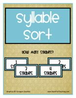 Syllable Sort Activity: Sort the syllable picture cards and syllable word cards into groups depending on how many syllables they have. Comprehension worksheet included.    Syllable Sort Activity – Click Here    Information: Syllable Activity, Syllables Center