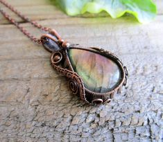 Labradorite Wire Wrap Necklace / Pink Flash Pendant / 7th