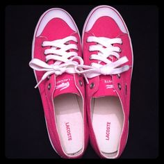 2e90fe3d6b330a Pink Lacoste Sneakers Super adorable and comfy pink Lacoste sneakers. Only  worn once around the house so in near perfect condition. No scuffs or marks.