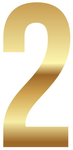 Golden Number Two PNG Clipart Image