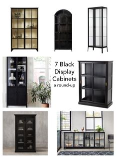 Living Room Glass Cabinet, Glass Shelves In Bathroom, Floating Glass Shelves, Living Room Cabinets, Black Display Cabinet, Glass Kitchen Cabinets, Glass Display Cabinets, Black And White Dining Room, Ikea Living Room
