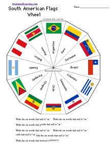 word wheel with flags of south america