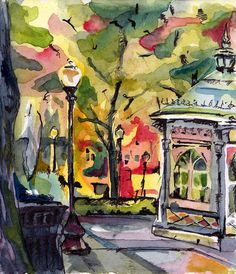 Landscape Painting - Genuine and Entertaining - Original Watercolor and Ink Painting of Philly