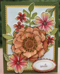 This is 2 sets. Secret Garden stamps & dies along with Blended Bloom which has been stamped and cut apart to give it a 3D appearance.