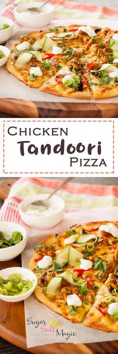 Tandoori Chicken Pizza by Sugar Salt Magic. Juicy chunks of Tandoori Chicken and a homemade crust combine to make this amazing pizza. via @sugarsaltmagic