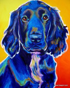 DawgArt: Colorful Pet Portrait, Field Retriever, Dog Art Print 8x10 by Alicia VanNoy Call. $12.00, via Etsy.