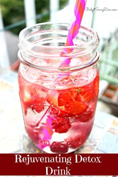 Rejuvenating Detox Drink RecipeWater  Ice  About 10 raspberries ( The have anti-aging properties — perfect for naturally reversing the aging process )  Strawberries – Adds a wonderful flavor to the water  Instructions  In a glass – combine water and ice ( about ¾th of the glass)  Add diced strawberries ( about 3 small berries) and raspberries  Stir and left sit for 5 minutes –