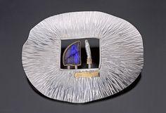 Patrice Case LFB (Little Felt Bag Series) spectrolite, pearl stick | Brooch, Sterling Silver