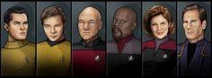 star trek captains by nightwing1975