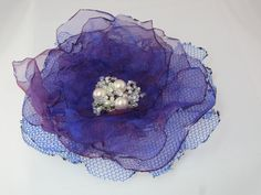Blue fabric flower brooch hair clip with pearl beads via Etsy