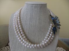 Pearl Necklace with  Vintage Blue Rhinestone Brooch for Audrey's wedding