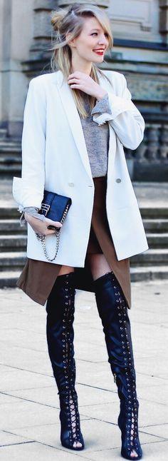Ooh Couture White Blazer Fall Street Style Inspo