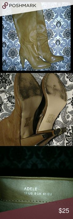 Light brown high heeled boots Excellent condition boots. Some wear as seen on the bottom. Adele style size 11. Shoes Heeled Boots