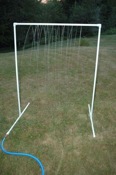 """DIY PVC Sprinkler Water Toy  Total Cost: $ 9.51  Total Time: 1 hour  2 ten foot lengths of PVC. (I used 3/4"""" but feel free to use other sizes, just be sure your fittings are the same dimension)  3 end caps  1 threaded hose connector  2 elbow joints (90 degree)  2 T connections"""