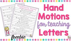 Teaching letters? Check out these FREE hand motion chants! Your students will master their letters in no time with these engaging chants and motions!
