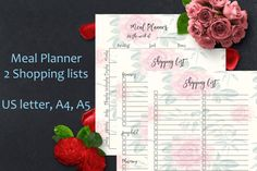 Meal planner printable menu planner Shopping by SimpleSweetPrints