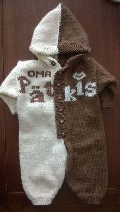 Tähän haalariin löytyy ilmainen ohje. Oma Pätkis -nuttu Novita 7 Veljestä | Novita knits Sewing Kids Clothes, Sewing For Kids, Knitting Charts, Baby Knitting Patterns, Knitting Ideas, Diy Crochet, Crochet Baby, Woolen Socks, Baby Cocoon