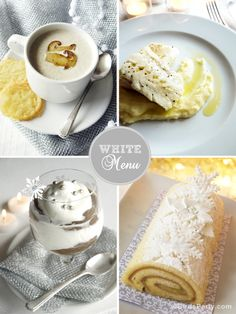 LOVE to cook for dinner parties and holidays. Themed menus are something I'm unashamedly into! This one is a Monochromatic White Christmas Dinner Menu  and includes white dishes for starters, main and 2 desserts. #FavoriteThingsGievaway
