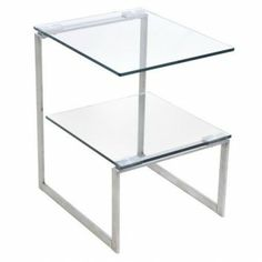 Modern Rectangular Glass And Metal Side Table With Shelf Ivy