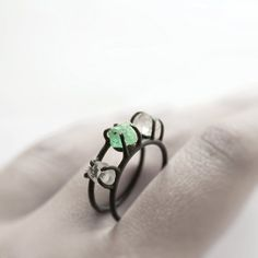 Emerald and two Herkimer diamonds,  oxidized sterling silver Ring by Mirta Jewelry