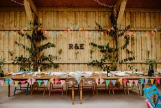 Canonteign Falls Wedding Chilled Out Multicolour Outdoor Fall Wedding, Diy Wedding, All The Months, Table Centerpieces, Table Decorations, How To Make Something, Wedding Bunting, Chalk Pens, How To Make A Pom Pom