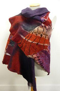 Nuno felt sleeveless waist coat / wrap 'Red Butterfly'. $455,00, via Etsy.