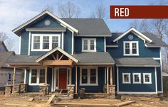 Picking An Exterior Paint Color | Young House Love...deep blue-green exterior with red door