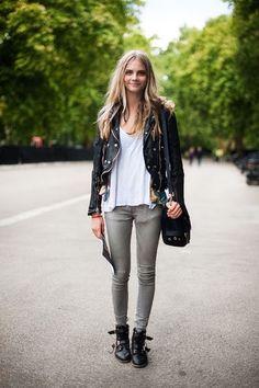 Edgy | cara delevigne | leather moto jacket + white oversized tshirt + grey denim + booties