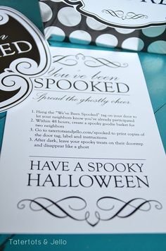 You've Been Spooked!! FREE Halloween Printables & Neighbor Gift Idea! -- Tatertots and Jello!!