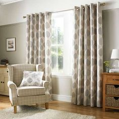 Decorated with a bold leaf design in shades of grey against a natural backdrop, this pair of fully lined curtains will reduce unwanted draughts entering, complete with an eyelet header to provide ease when installing with multiple sizes available. Indoor Blinds, Diy Blinds, Fabric Blinds, Curtains With Blinds, Bedroom Curtains, Hanging Curtains, Curtains On Patio Doors, Privacy Blinds, Sheer Blinds