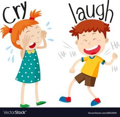 Illustration about Opposite adjectives cry and laugh illustration. Illustration of girl, graphic, picture - 63734288 English Activities, Preschool Learning Activities, Teaching Kids, Kids Learning, Learning English For Kids, English Lessons For Kids, Teaching English, Opposites For Kids, Opposites Preschool