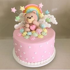 REPOST from Adorable pink cake for a little girl Yummery - best r. 1st Birthday Cake For Girls, Pink Birthday Cakes, Birthday Ideas, Gateau Baby Shower, Baby Shower Cakes, Shower Baby, Teddy Bear Cakes, Baby Girl Cakes, Cute Cakes