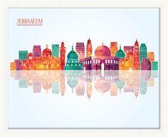 Jerusalem Pop Skyline Framed Graphic Art