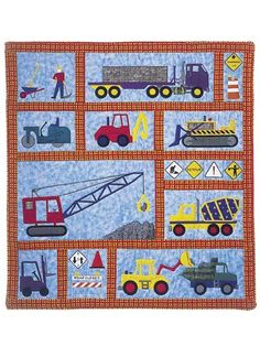 "The perfect gift for the little boy on your list! Machine applique instructions and patterns for 9 vehicles and 11 traffic control signs and symbols. Finished quilt size is 42"" x 54"" but is easy to enlarge or reduce."