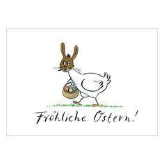"""Wünschen Sie """"Fröhliche Ostern!"""" mit dem Osterhasen-Huhn auf dieser Osterkarte 1"""