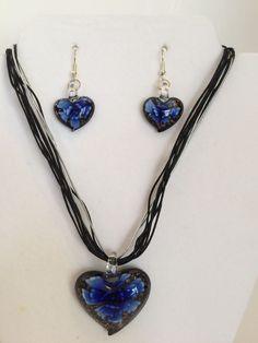 Blue Lampbead Heart Shaped Necklace & Earring Set