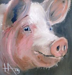 Acrylic Painting On Canvas Farm Paintings, Animal Paintings, Pig Images, Pig Drawing, Drawing Ideas, Pig Art, Maila, Farm Art, Painting Inspiration